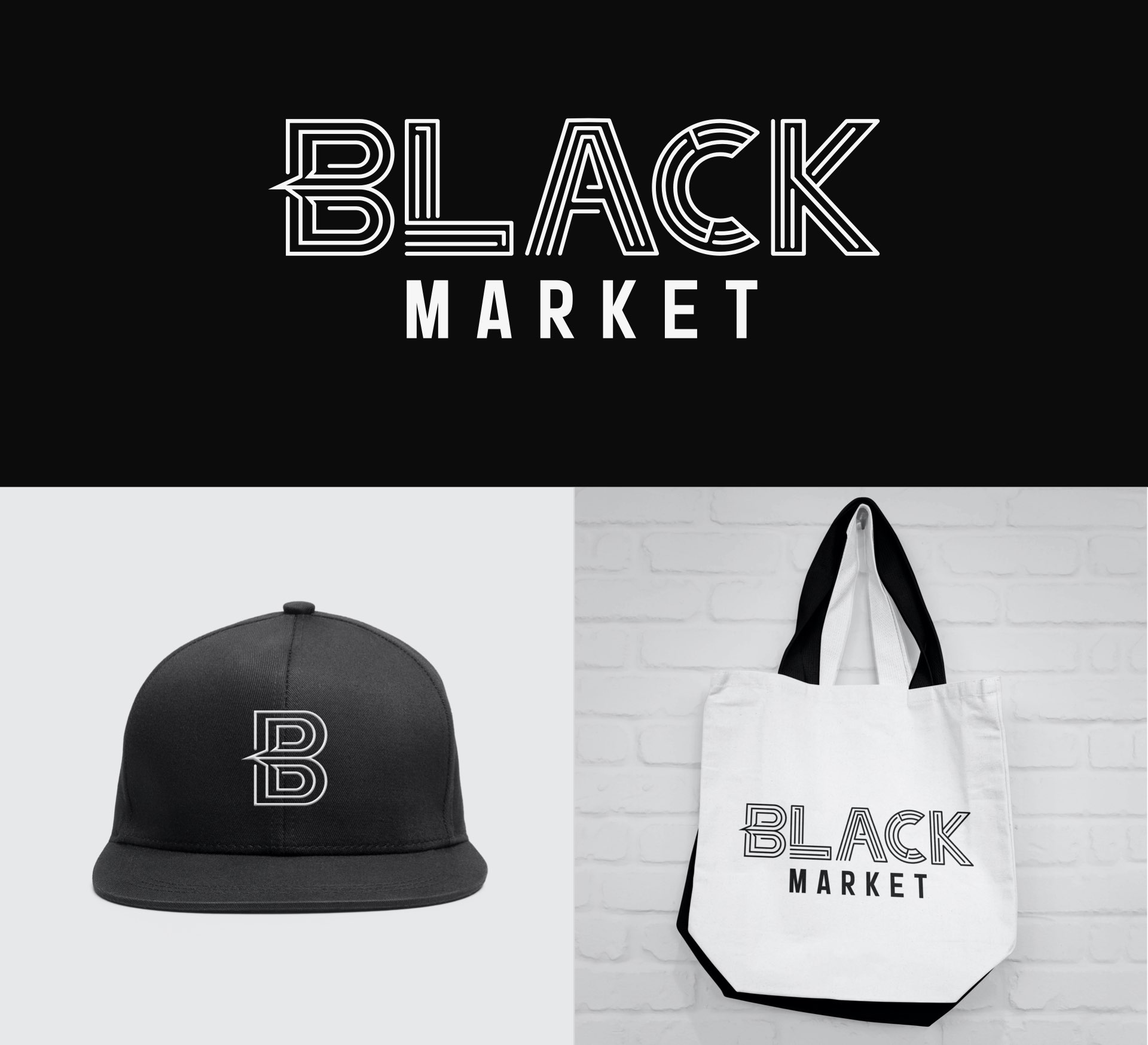 Black Market logo, hat, and bag